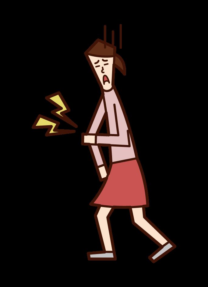 팔꿈치 통증과 상완 골 골절 (소녀)의 그림
