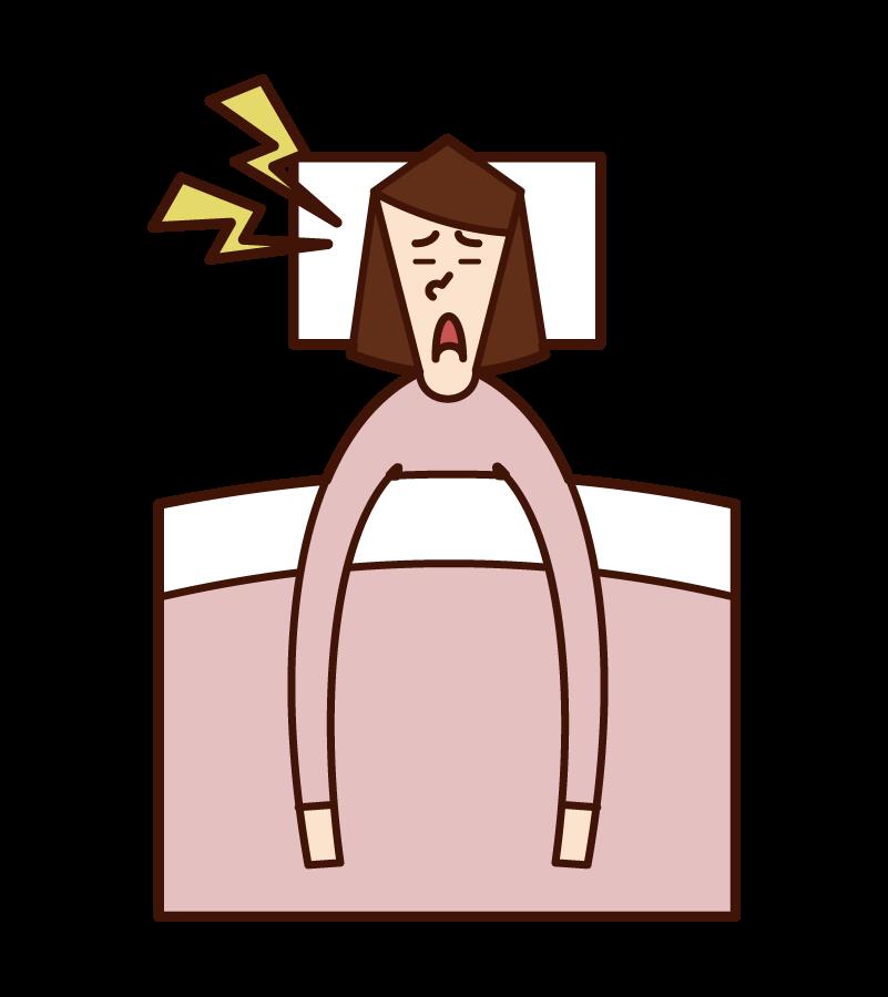 いびき・睡眠時無呼吸症候群(女性)のイラスト