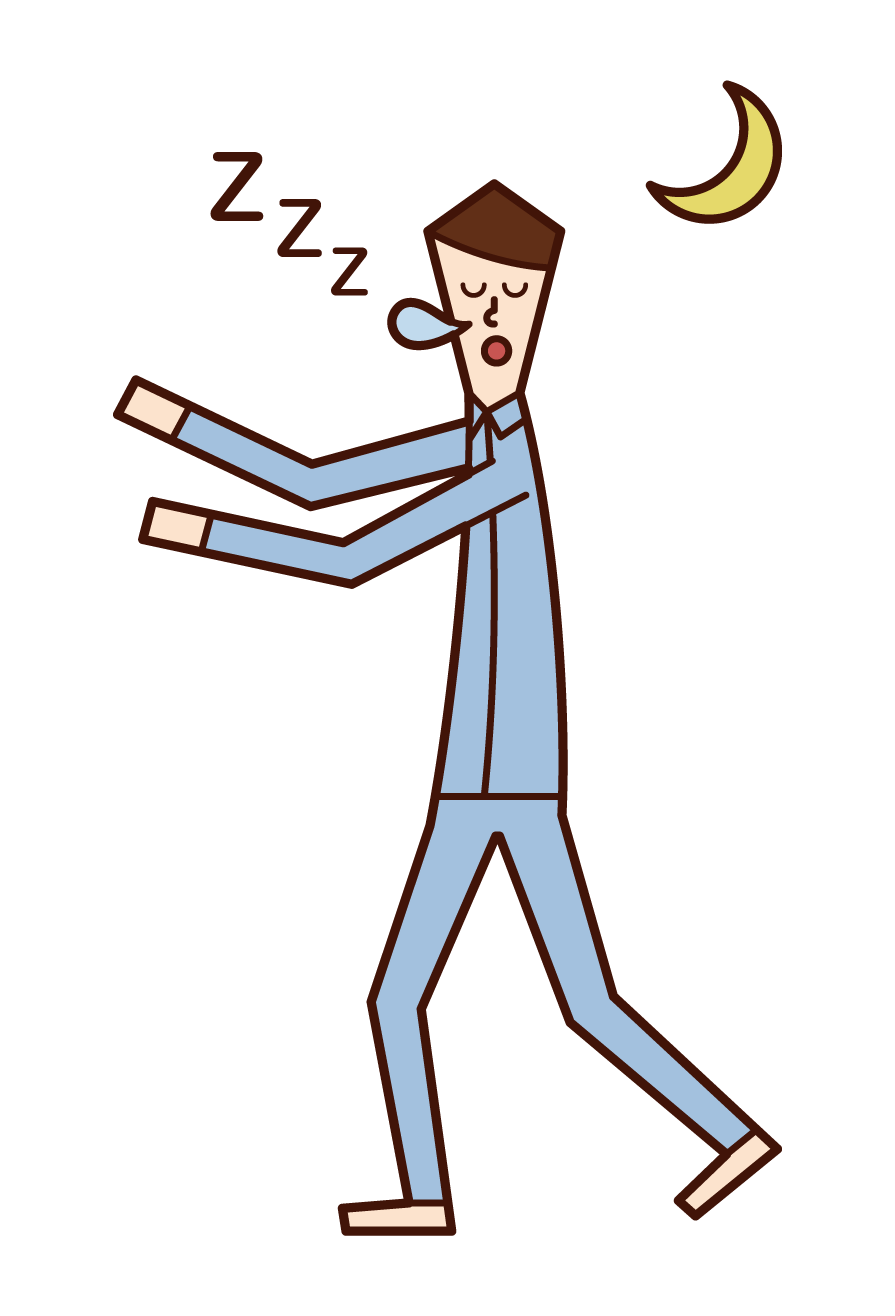 Illustration of sleepwalking and sleepwalking (boy)