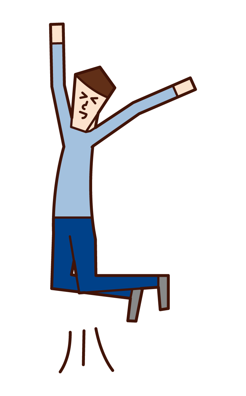 Illustration of a person who is happy to jump and a person who soars (man)