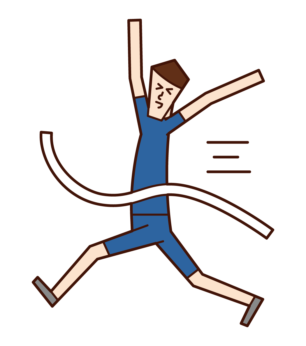 Illustration of goal person and goal tape (man)