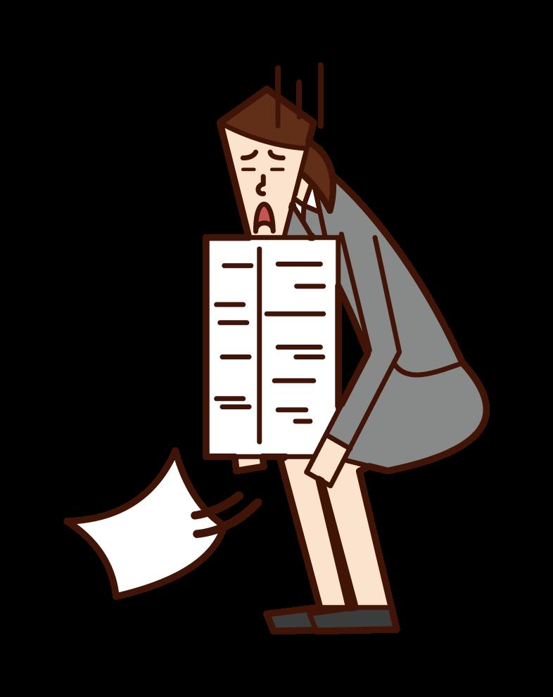Document arrangement and chore (woman) illustration