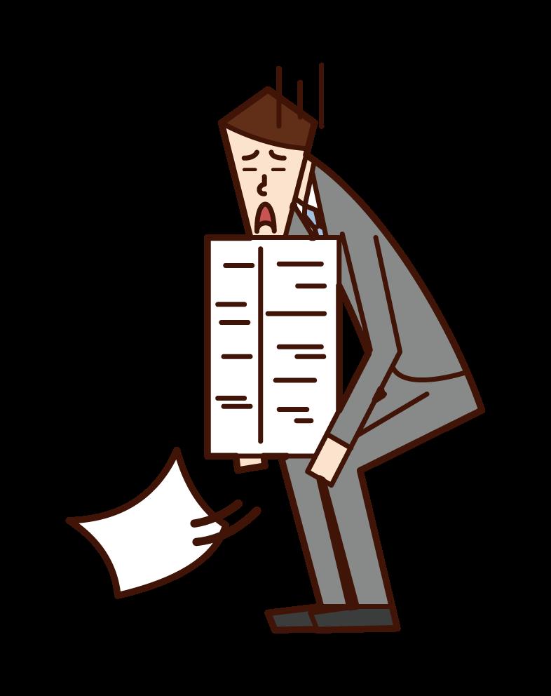 Document arrangement and chore (man) illustration