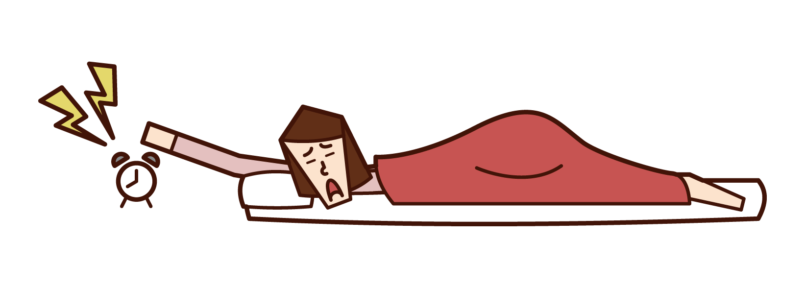 Illustration of a woman who stops alarm clock alarm