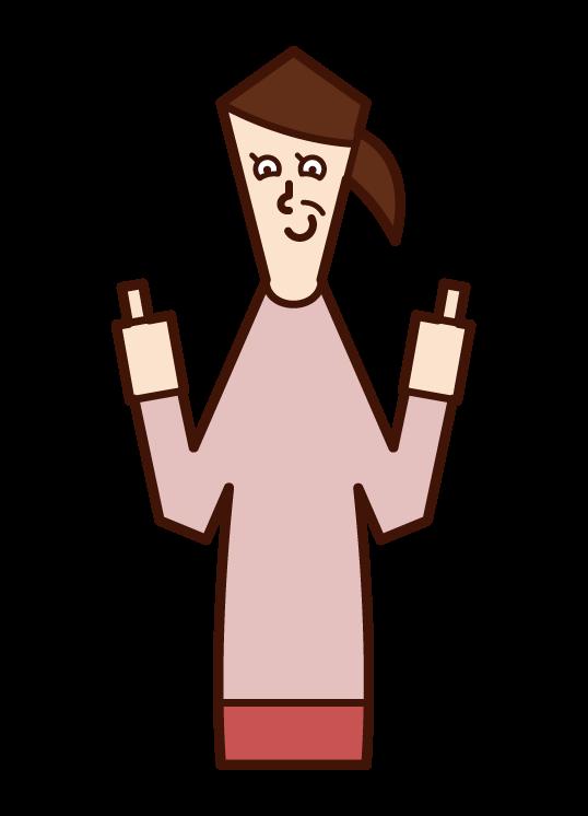 両親指を立てる人・グッジョブ(女性)のイラスト