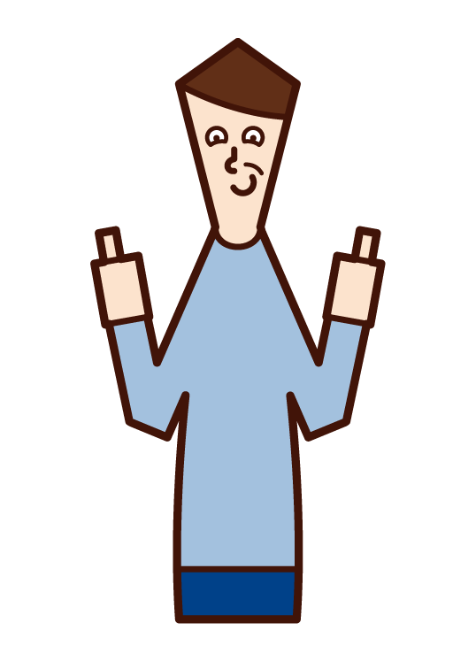 両親指を立てる人・グッジョブ(男性)のイラスト