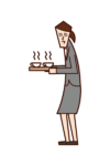 Illustration of a person (woman) who serves tea or coffee