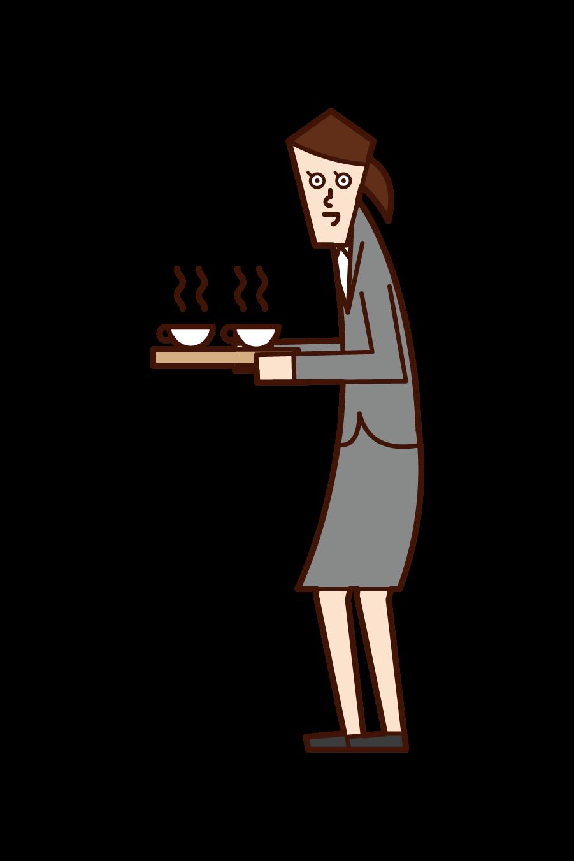 차와 커피를 제공하는 사람 (여성)의 그림