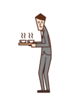 Illustration of a person (male) who serves tea or coffee