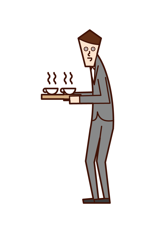 차 또는 커피를 제공하는 사람 (남성) 그림