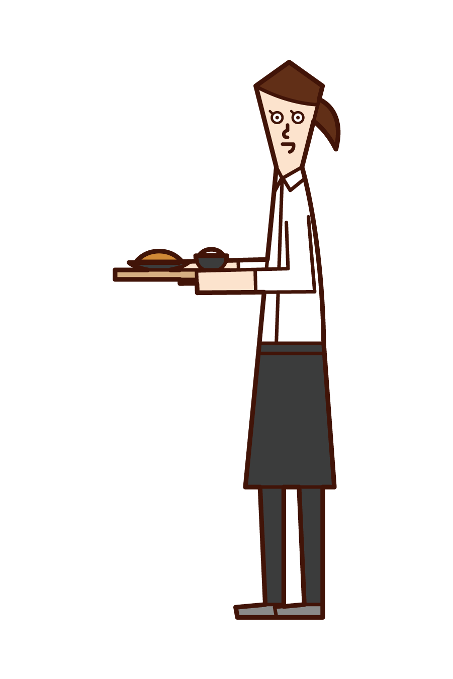 Illustration of a clerk (woman) at a restaurant or café