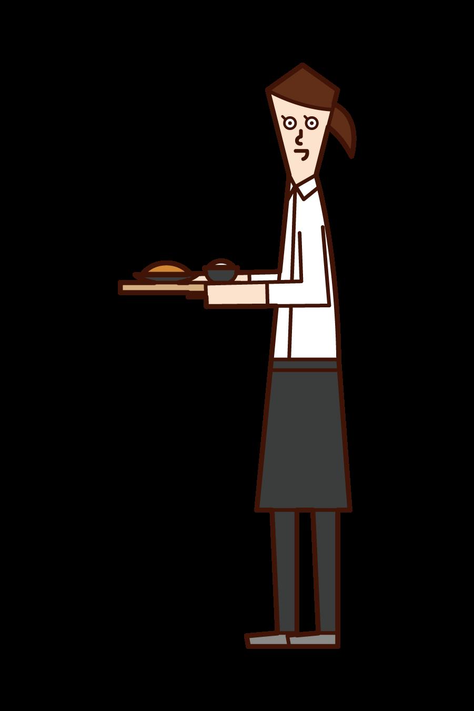 飲食店・カフェの店員(女性)のイラスト