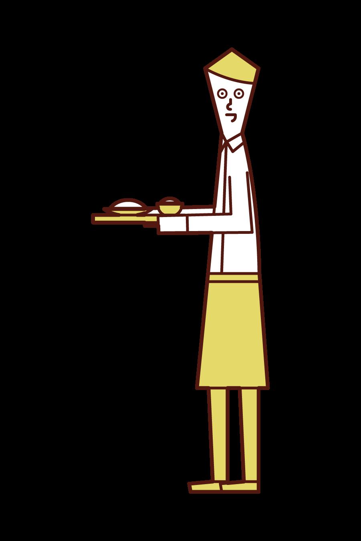 Illustration of a clerk (man) at a restaurant or café