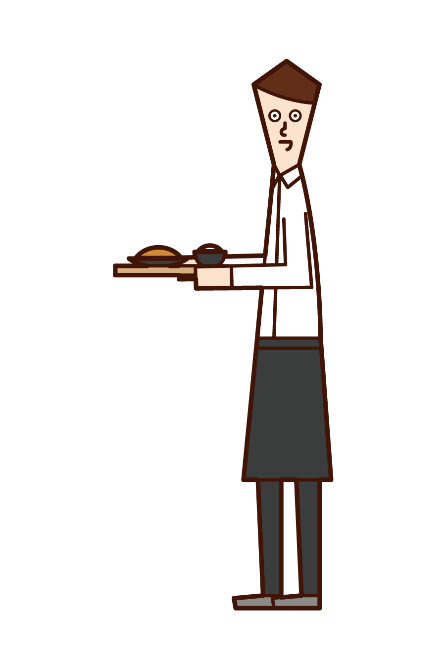 Illustration of a clerk (man) at a restaurant or café