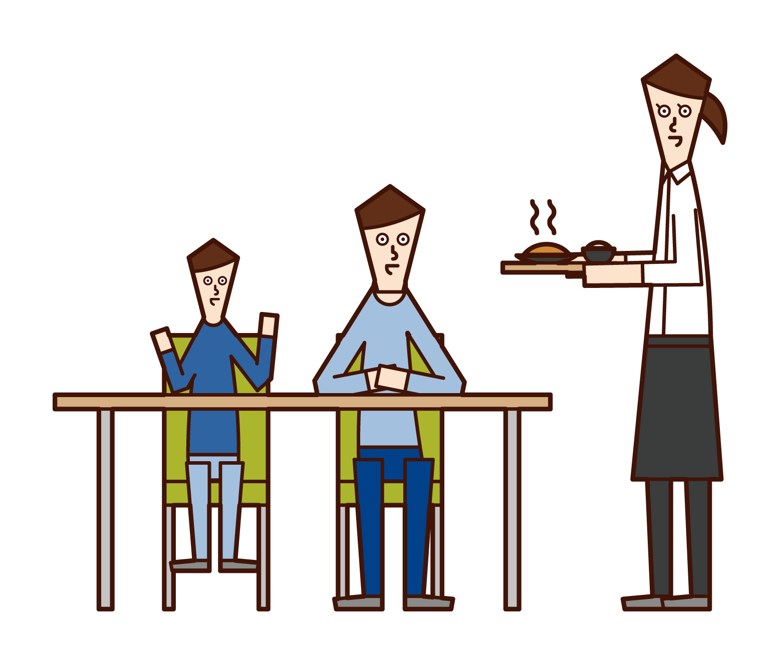 レストランで食事を楽しむ家族(男性)イラスト