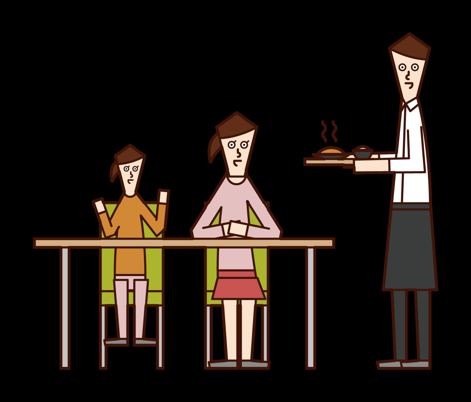 レストランで食事を楽しむ家族(女性)イラスト