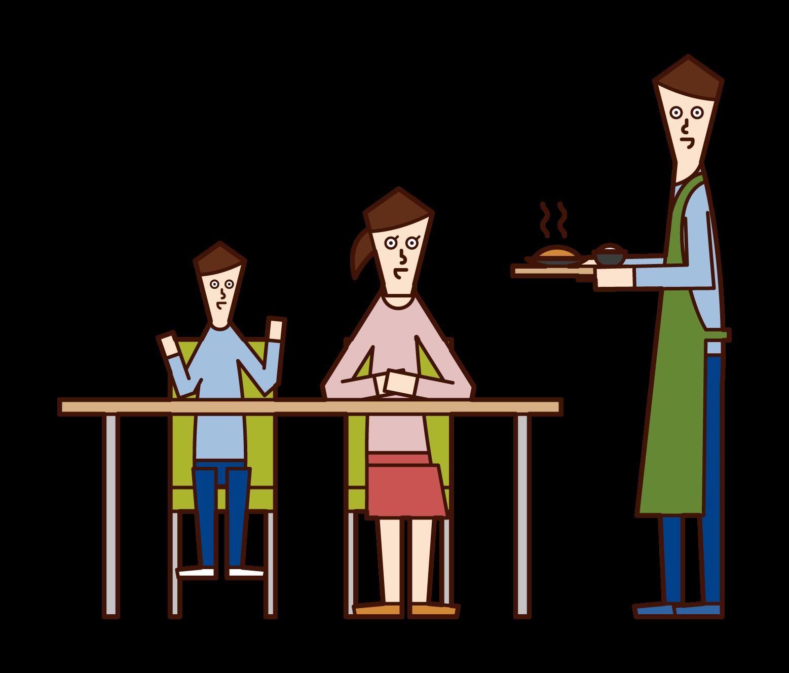 저녁 식사의 아버지와 식탁 주위의 가족 일러스트를 만듭니다