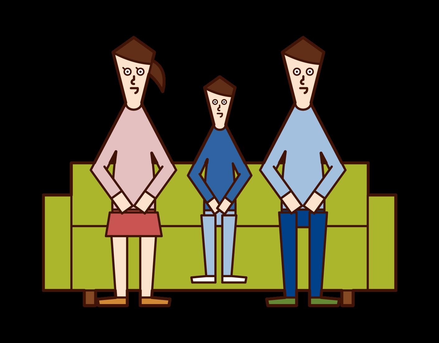 三人家族のイラスト