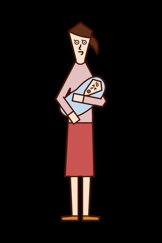 赤ちゃんを抱っこする人(女性)のイラスト