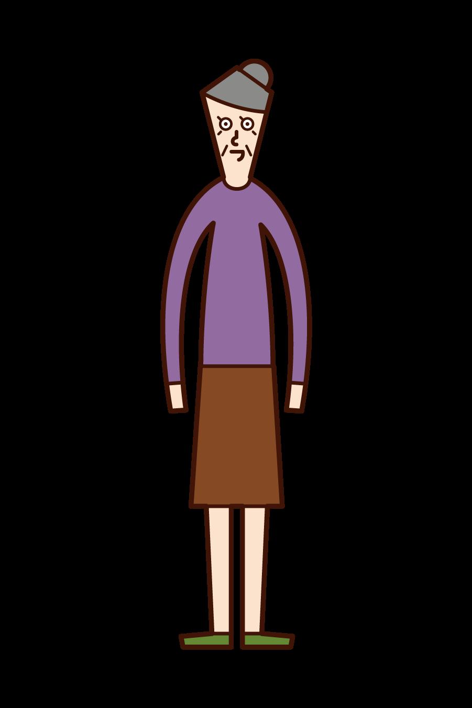 人(おばあさん)のイラスト