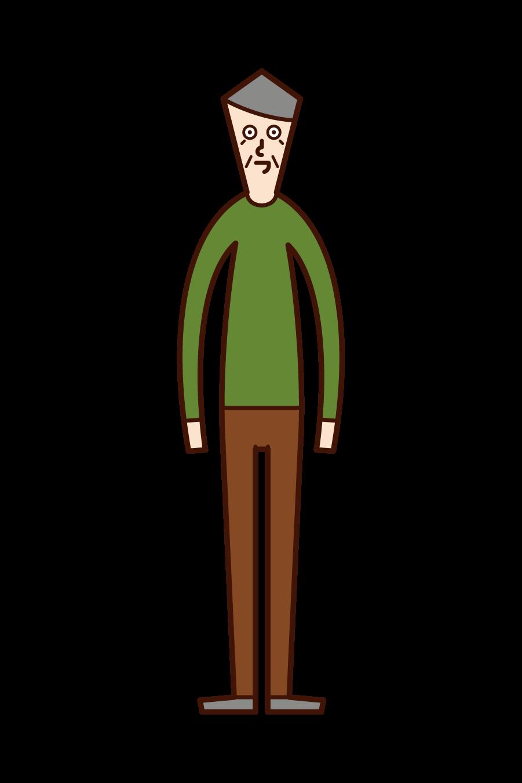 直立する人(おじいさん)のイラスト