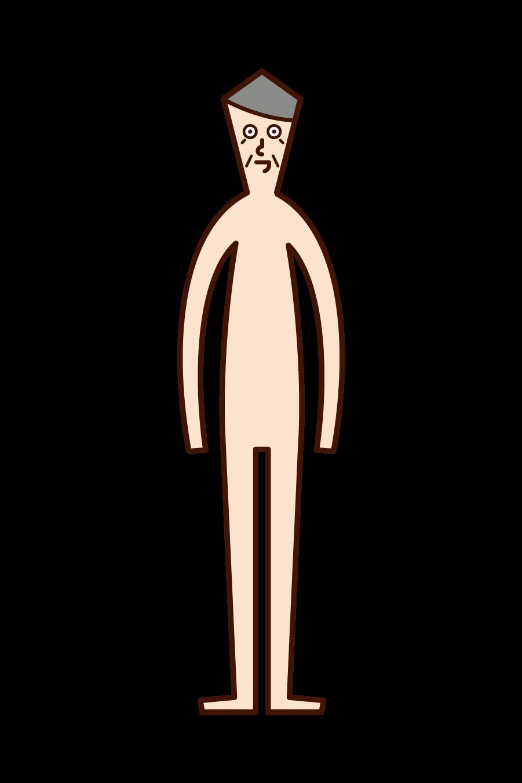 Illustration of human body (old man)