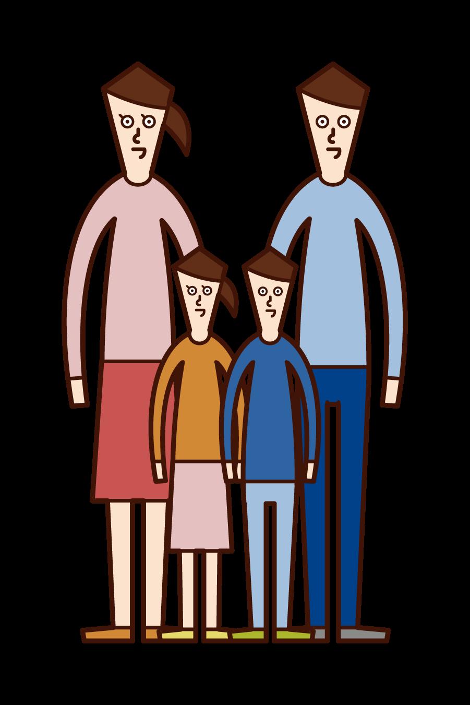 四人家族のイラスト
