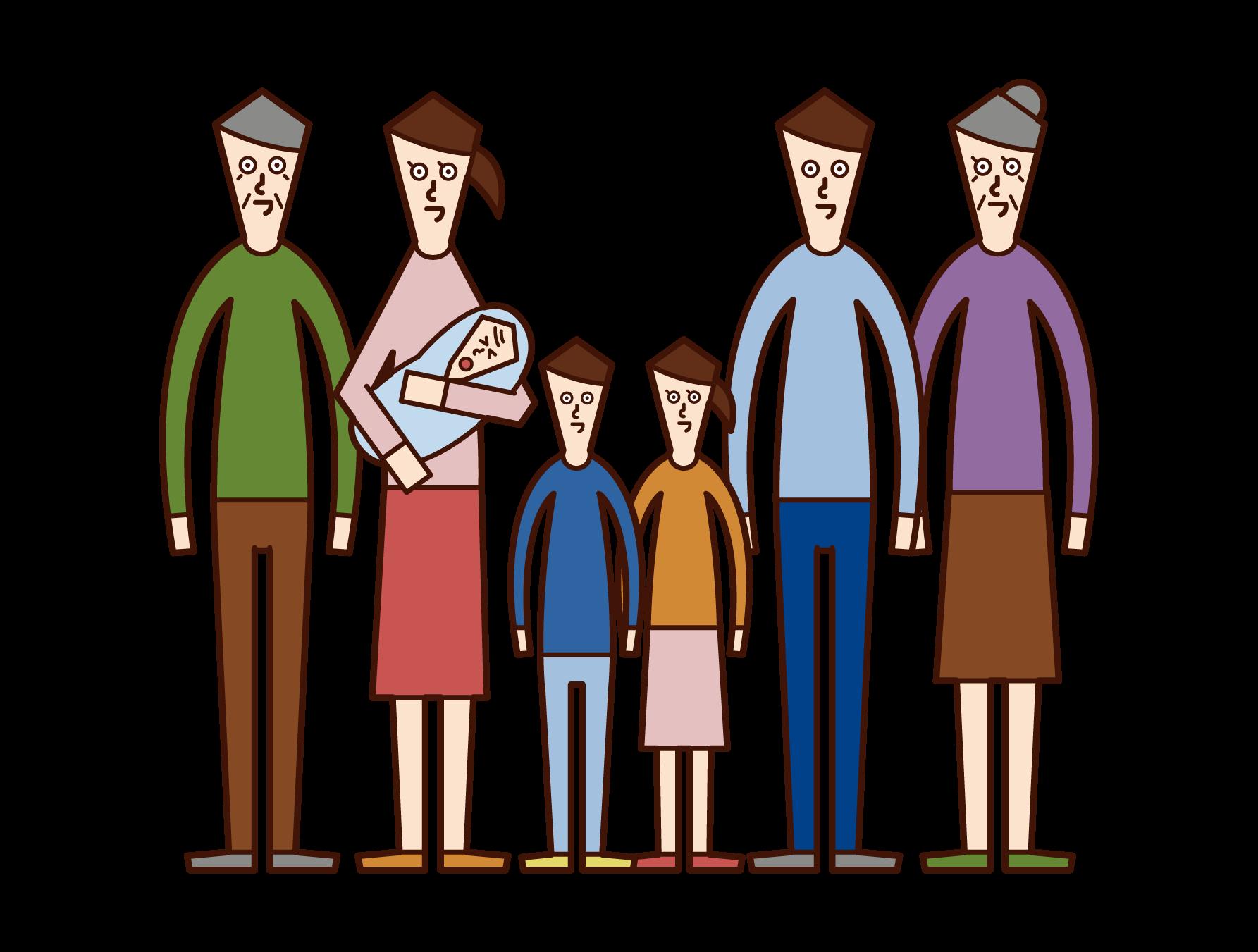 大家族のイラスト