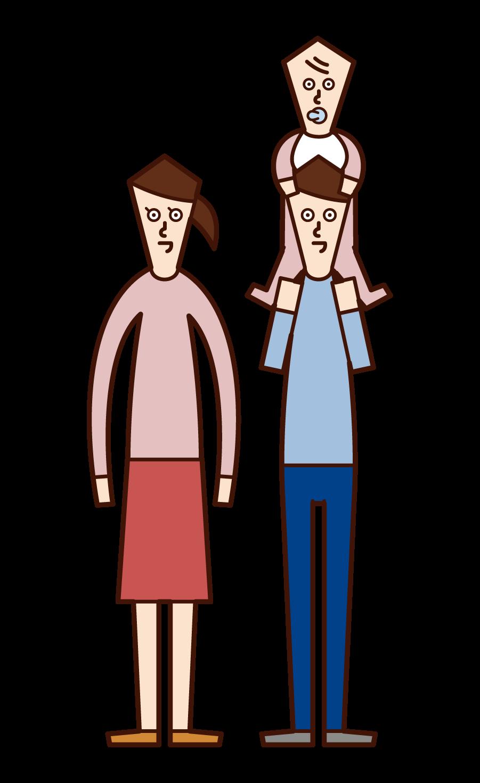 子供を肩車する夫婦のイラスト