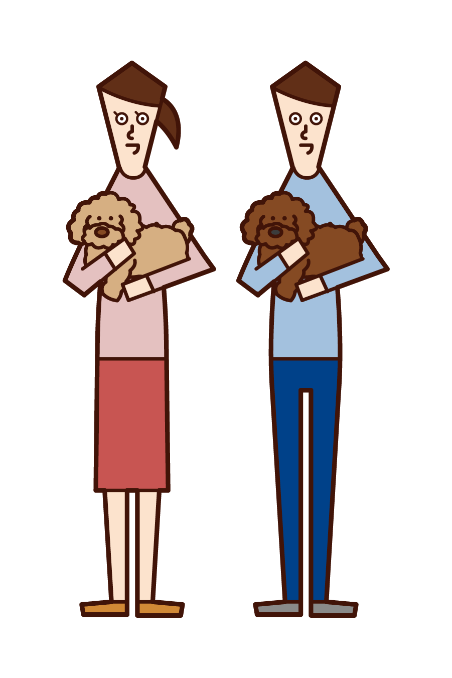 Illustration of a couple with a dog