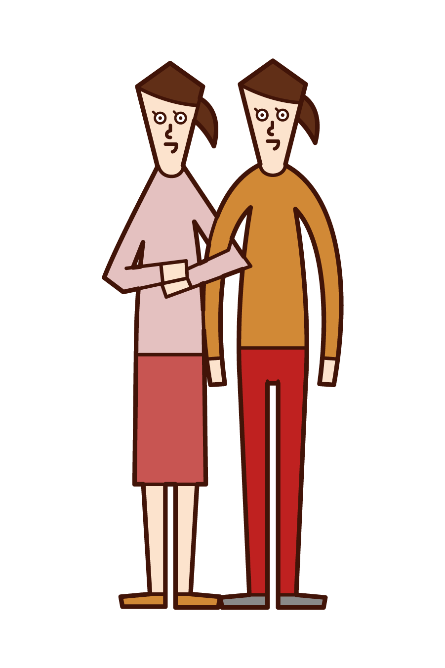 Illustration of same-sex couple and LGBT (woman)