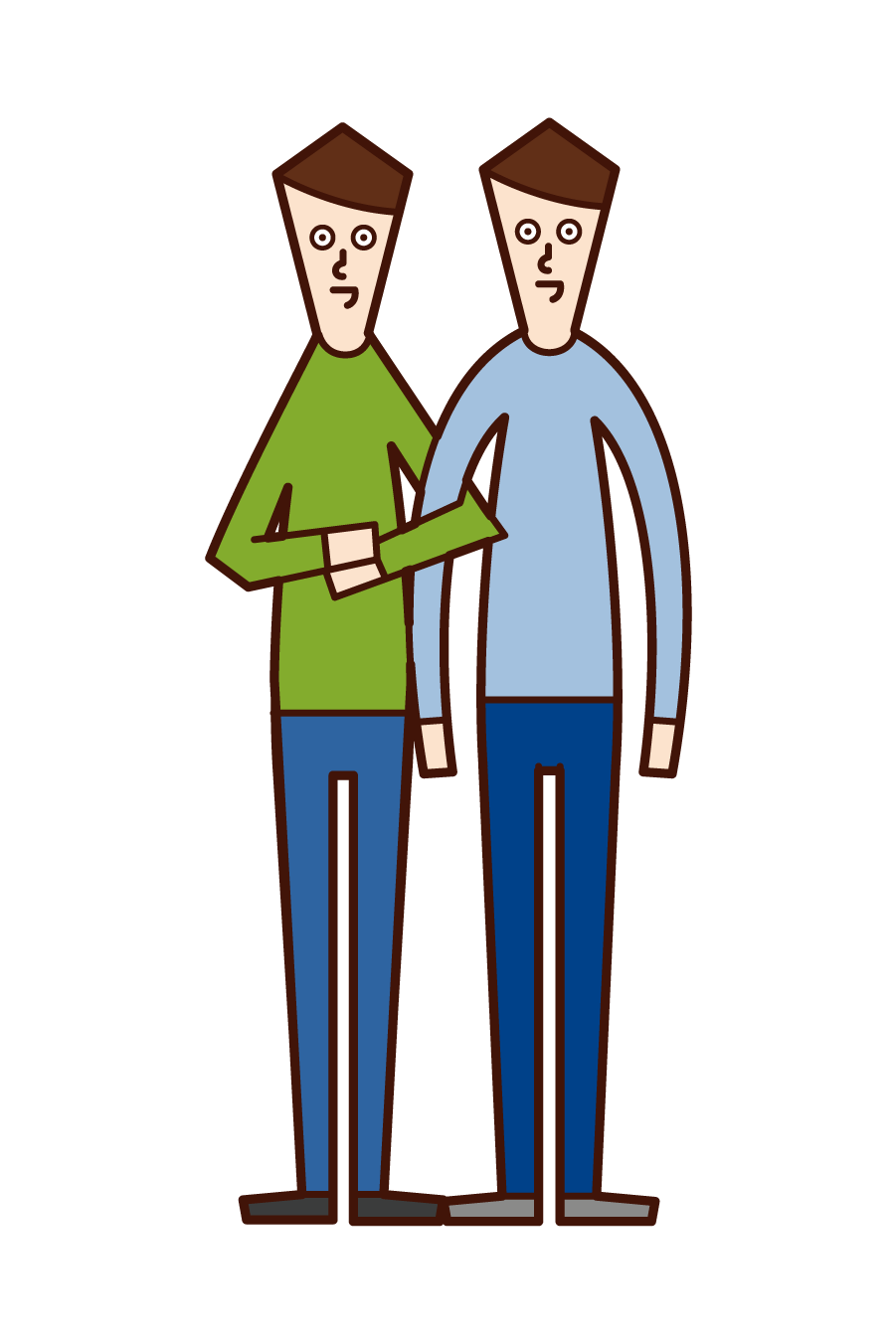Illustration of same-sex couple and LGBT (man)