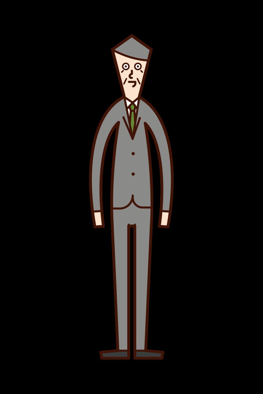 スーツを着たおじいさんのイラスト