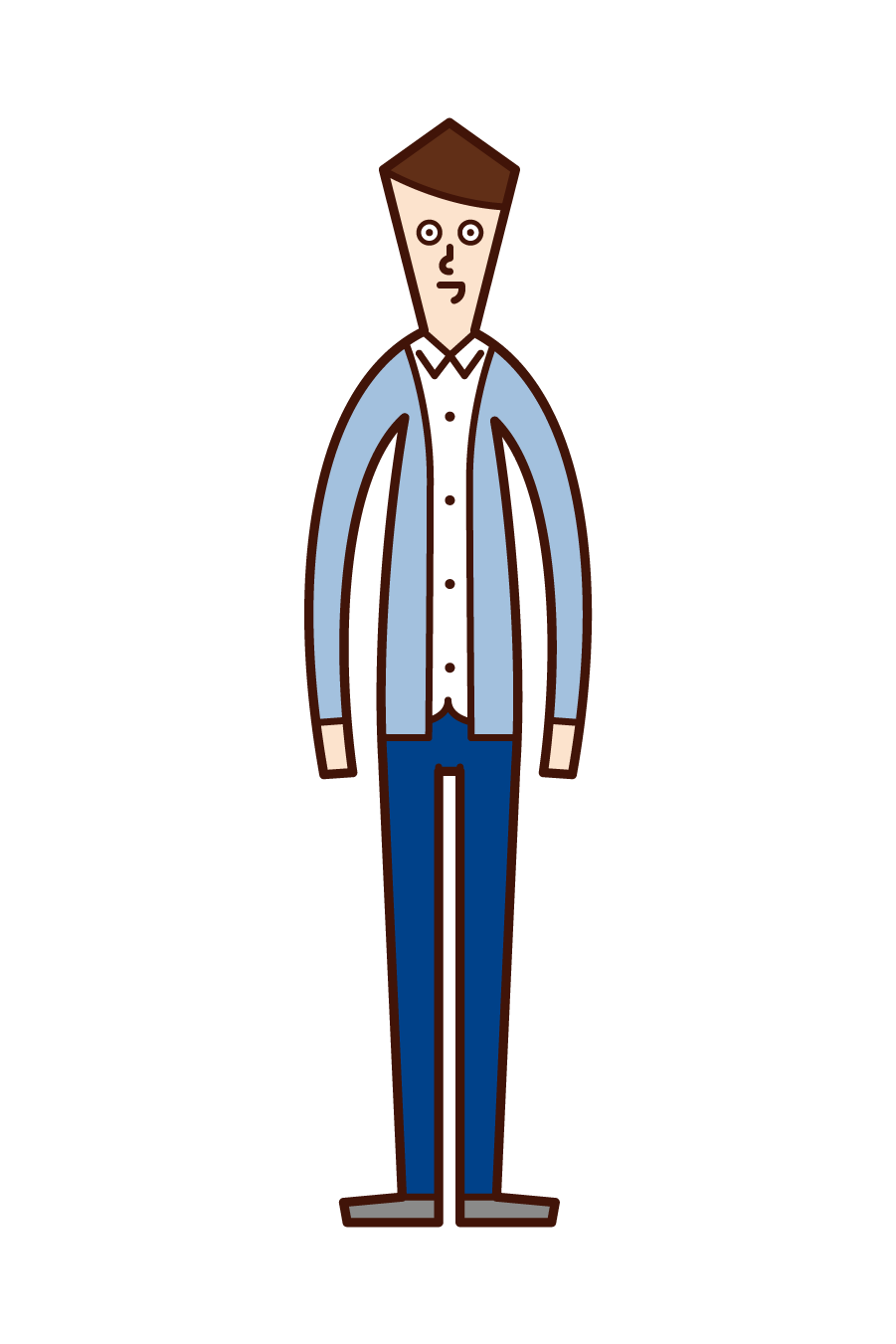 Illustration of a man wearing a cardigan