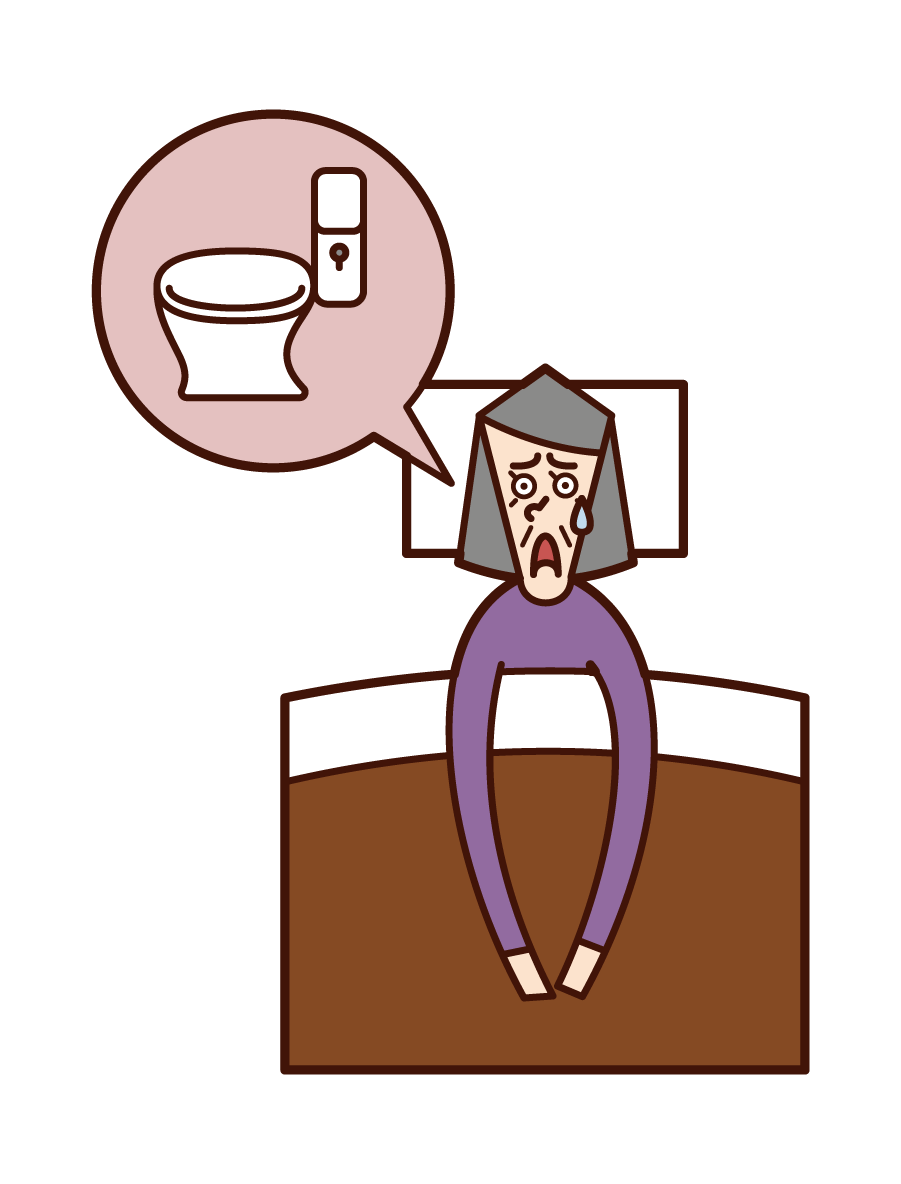Illustration of nocturnal frequent urination (grandmother)