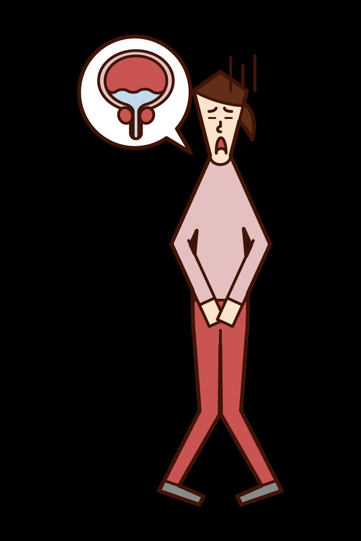 Illustration of remaining urine (woman)