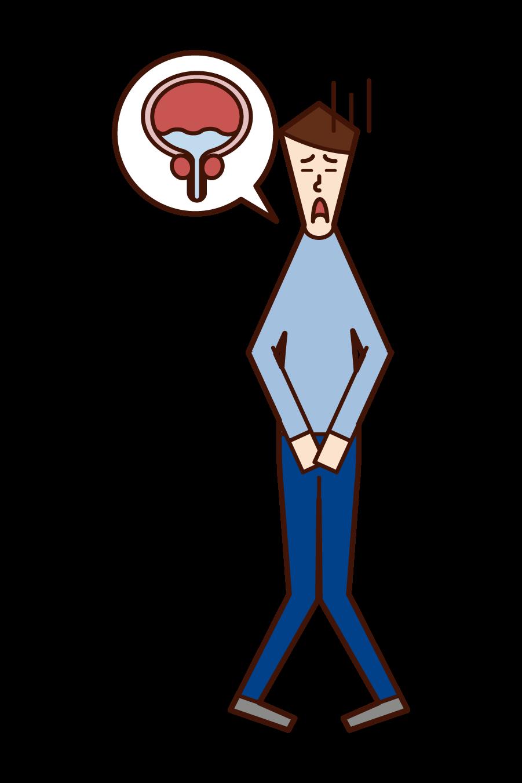残尿(男性)のイラスト