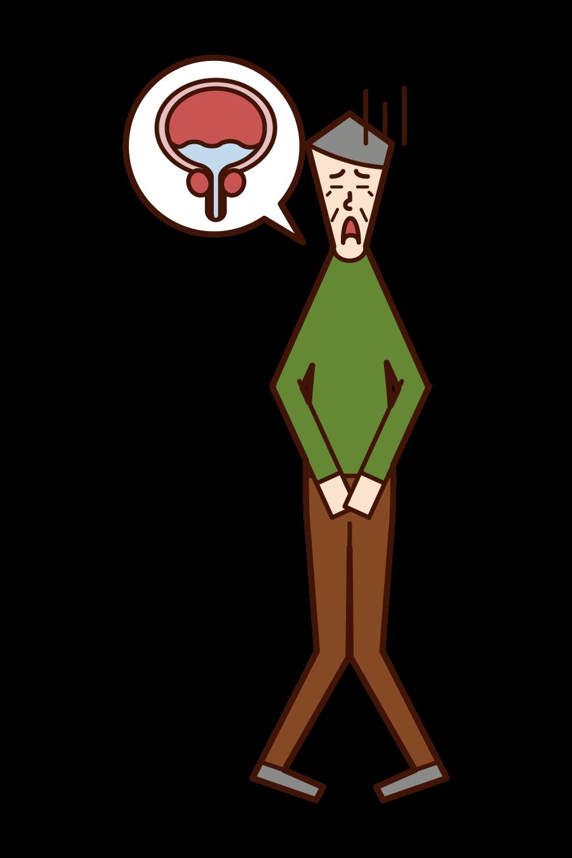 残尿(おじいさん)のイラスト