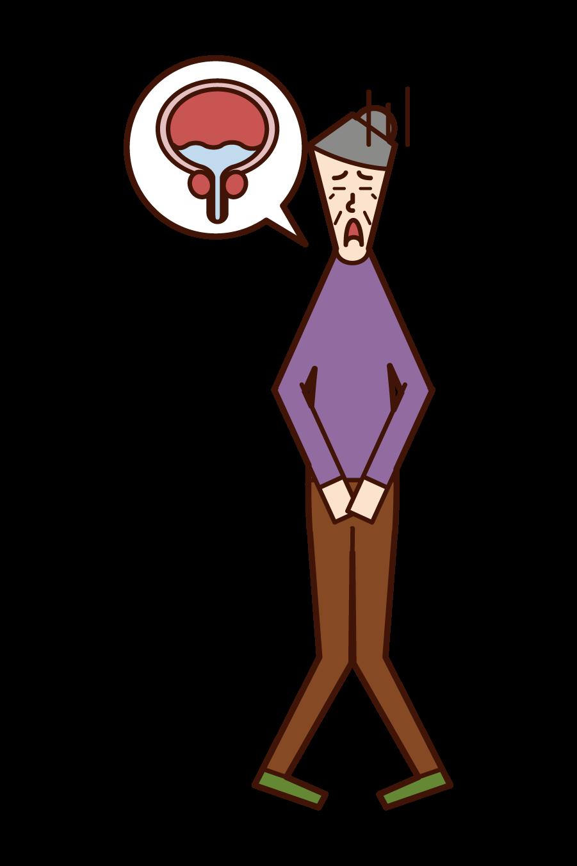 Illustration of remaining urine (grandmother)