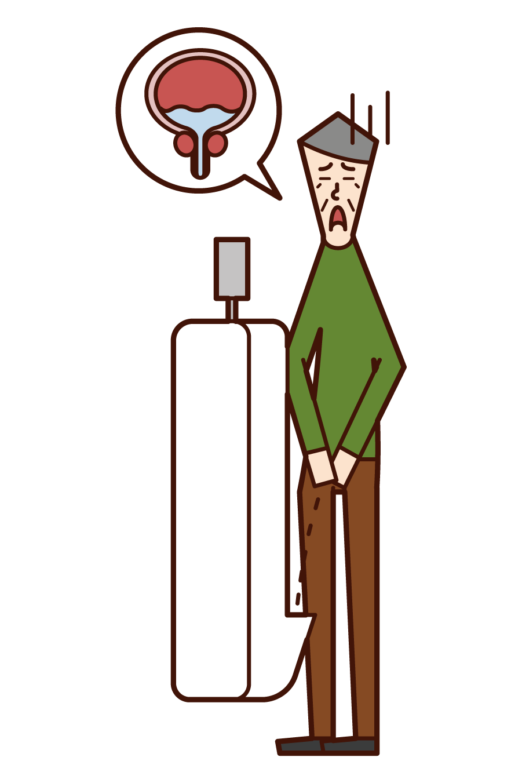 Illustration of remaining urine (old man)