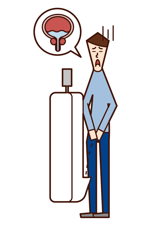 Illustration of remaining urine (man)