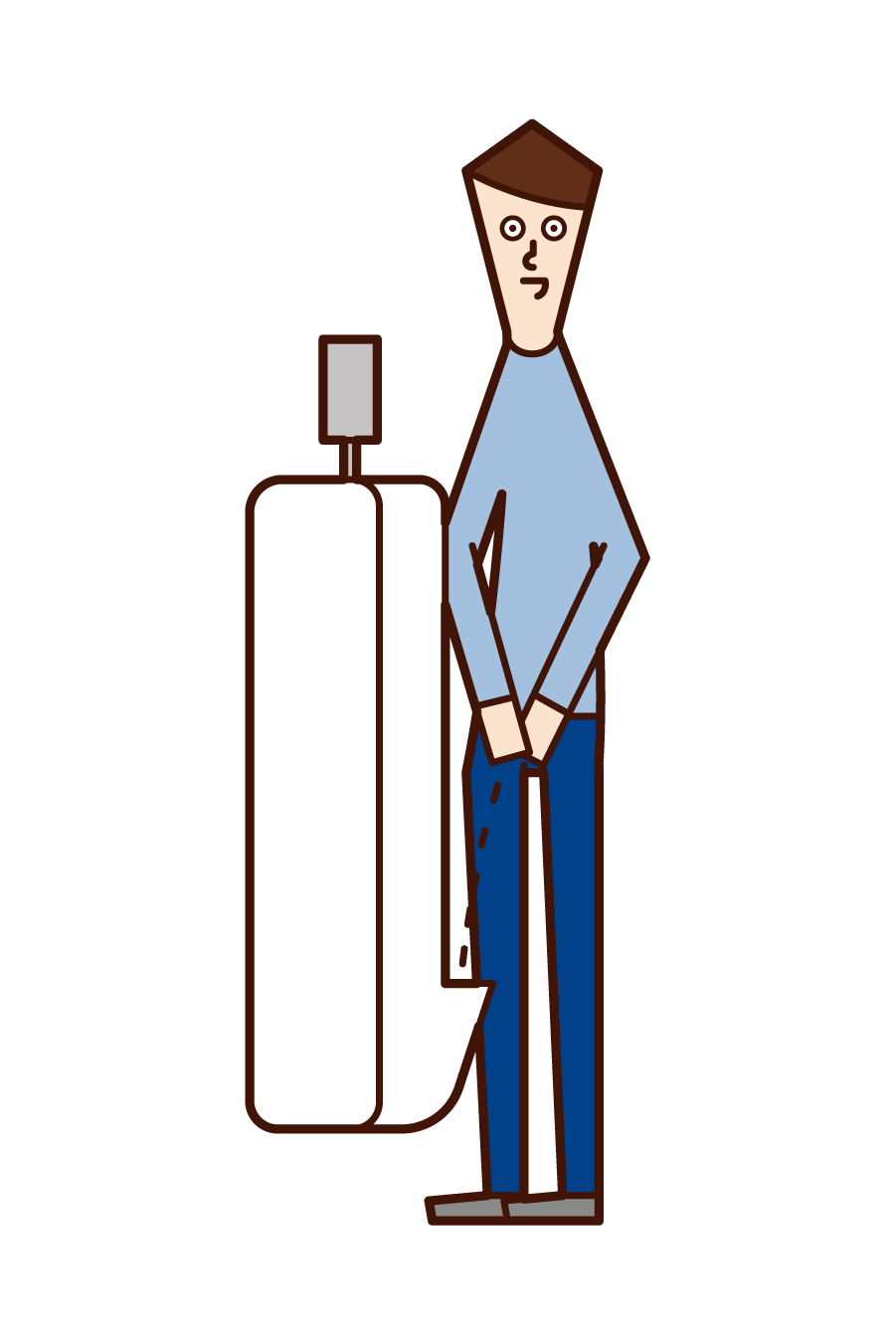 Illustration of a man who uses a toilet