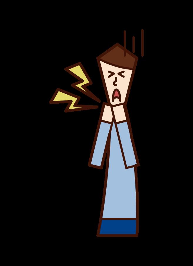 喉の痛み・喉の病気(男性)のイラスト