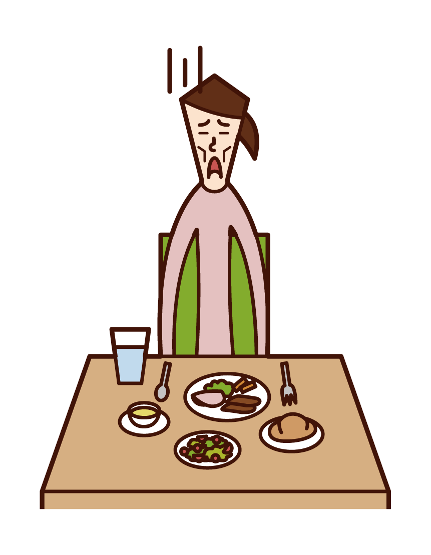 Illustration of anorexia and eating disorder (woman)