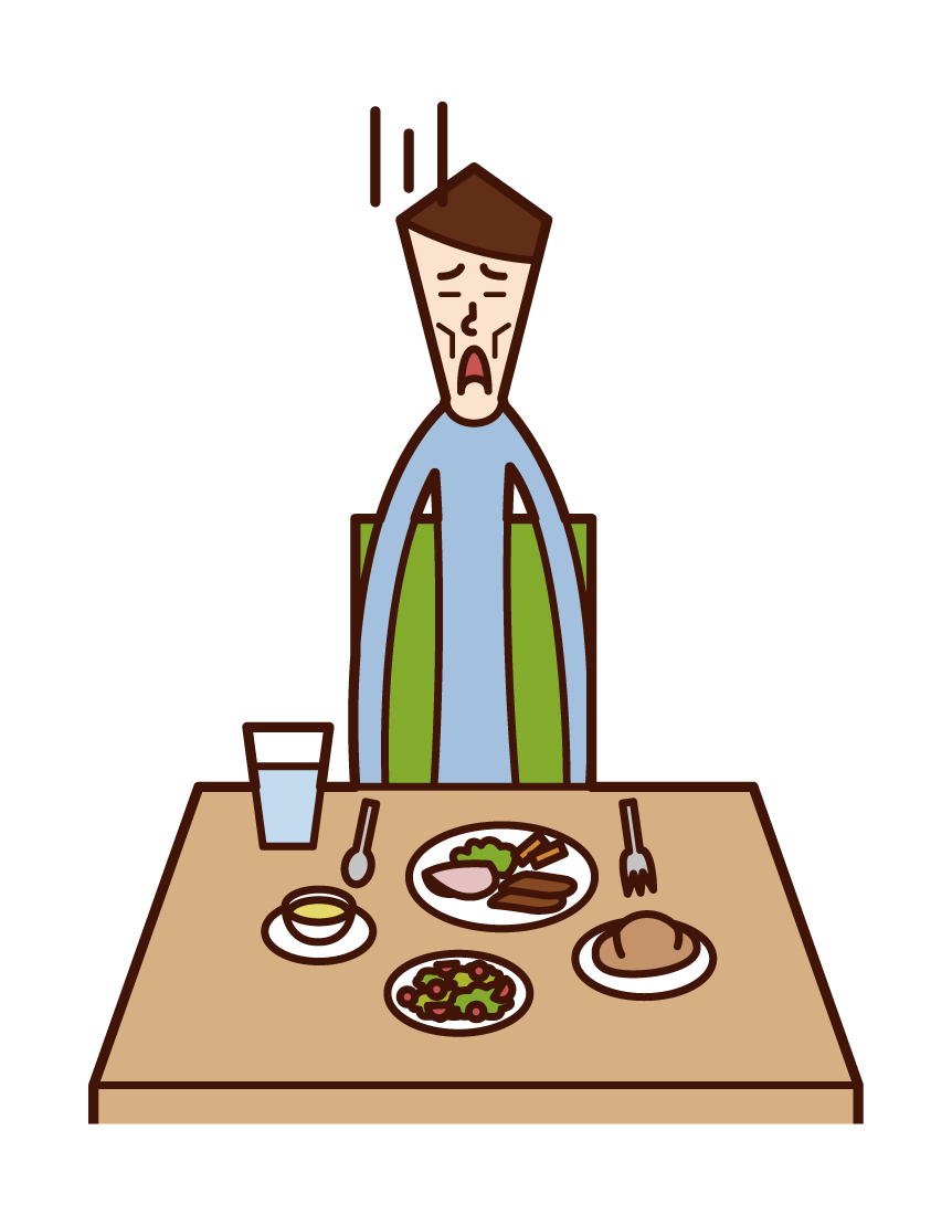 Illustration of anorexia and eating disorder (man)