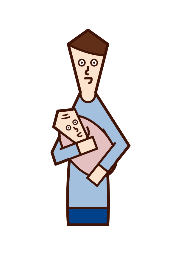 아버지가 아기를 안고 있는 일러스트