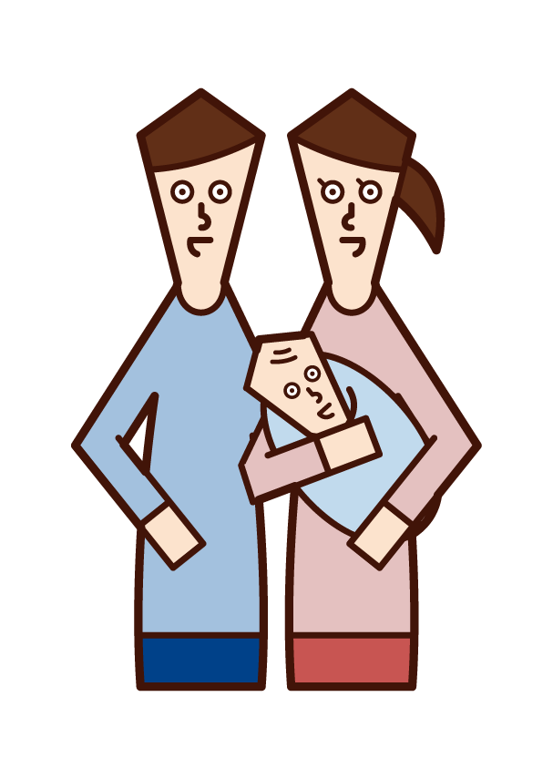 Illustration of a couple holding a baby