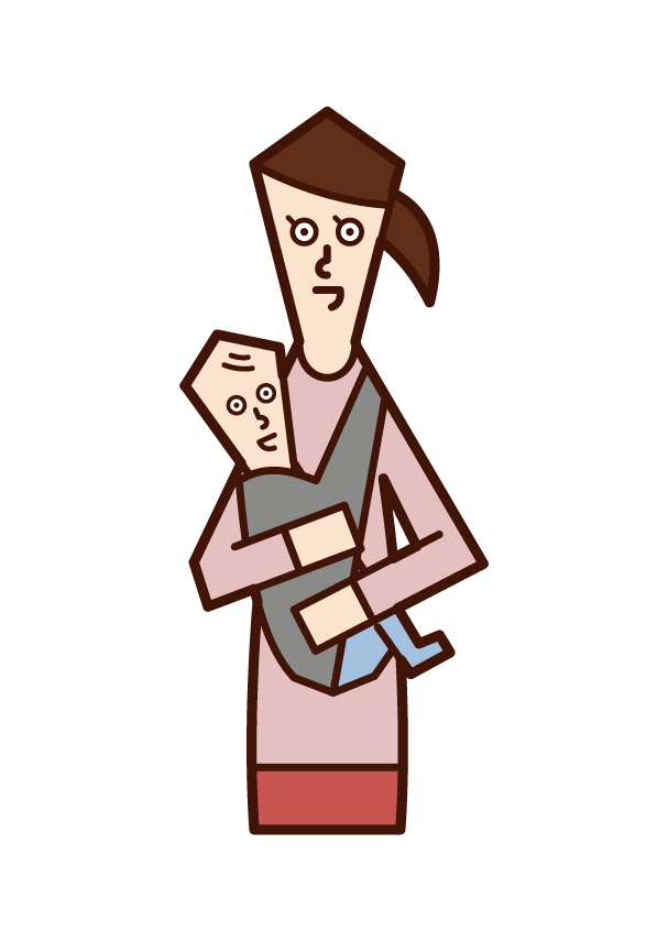 Illustration of mother holding baby with cuddle string