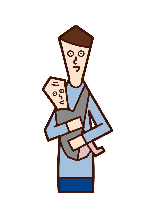 Illustration of father holding baby with cuddle string