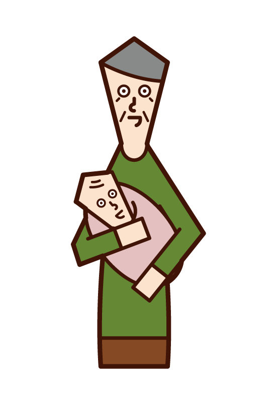 Illustration of a man holding a baby